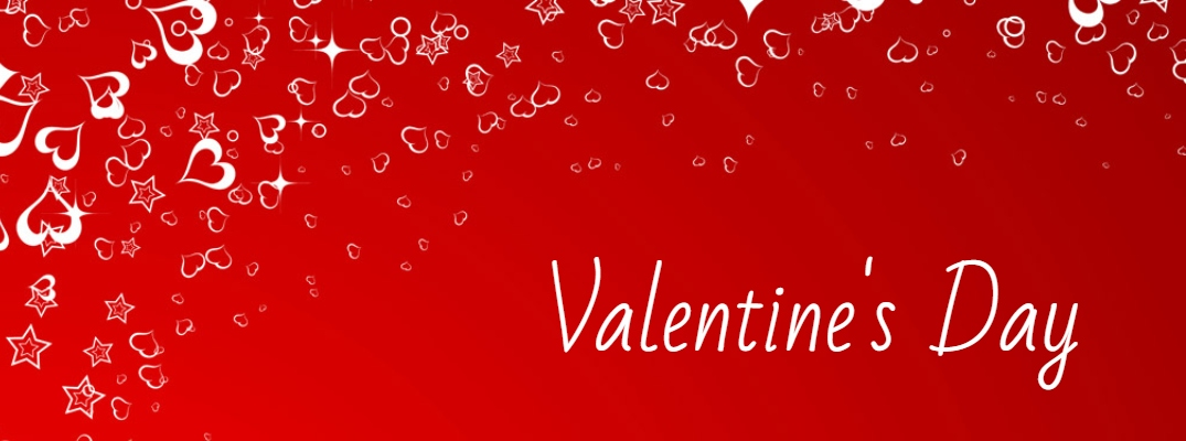 """Valentine's Day"" in white font against a red background with small white hearts floating around the left edge"