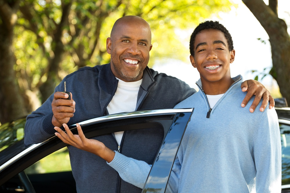 Father with teenage driver