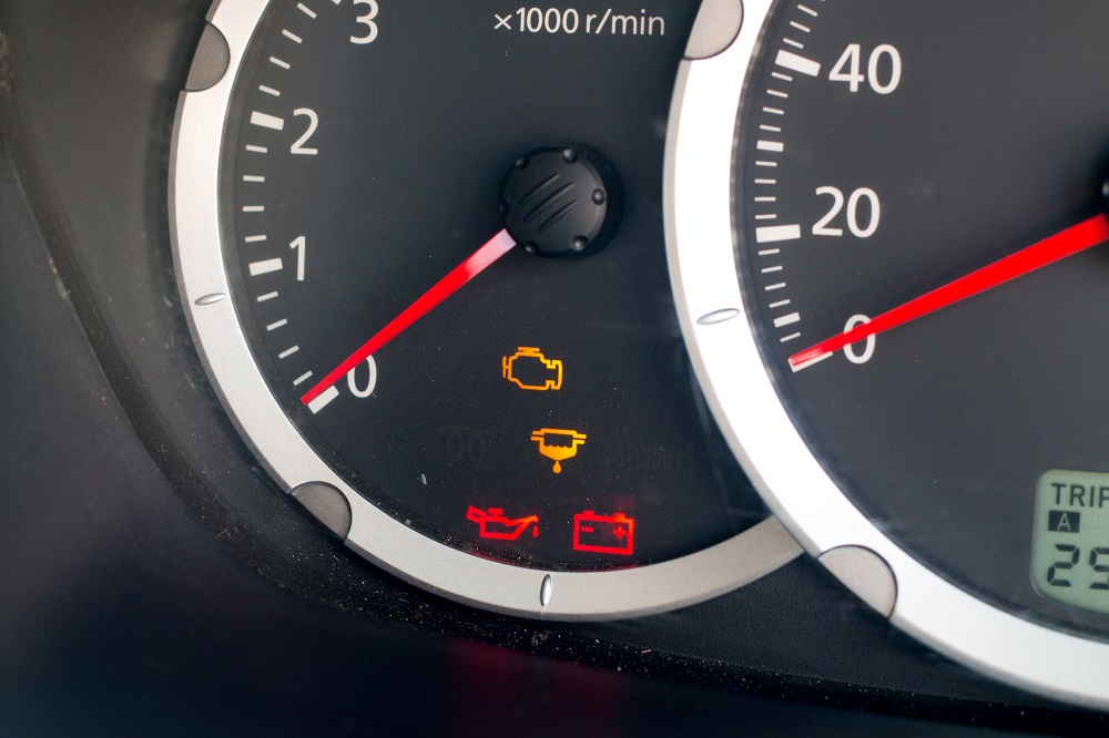 Warning lights on dashboard