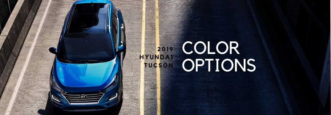 2019 Hyundai Tucson Color Options text with overhead view of blue tucson