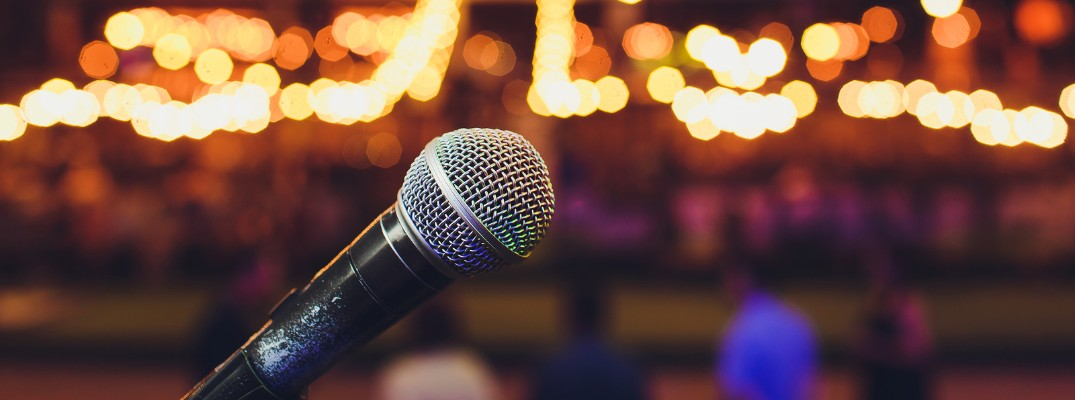 microphone in front of lights