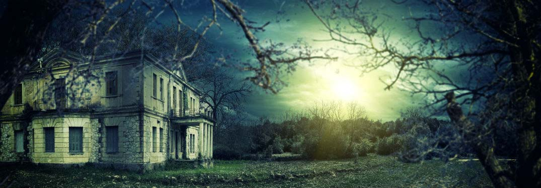haunted house on a dark day