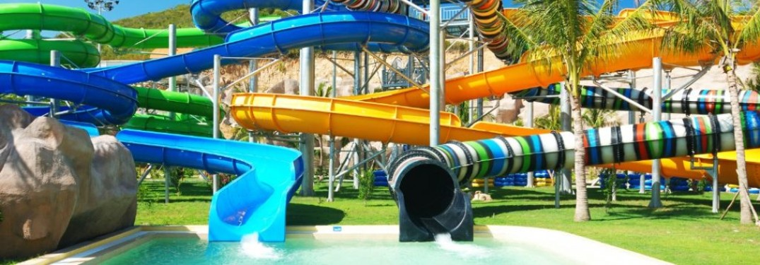 water park pool and slides