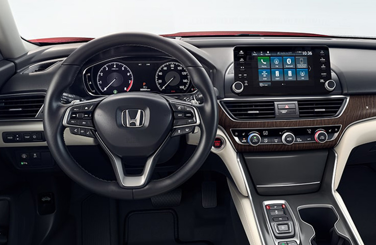Interior dashboard and infotainment area of a 2019 Honda Accord. There is no CD player to be seen.