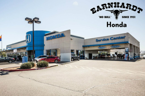 """Exterior view of Earnhardt Honda with text in the upper right that reads, """"Earnhardt Honda """"No Bull"""" since 1951"""""""