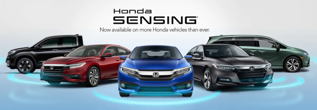"An array of Honda vehicles with text overhead that says, ""Honda Sensing Now Available on more Honda vehicles than ever."""