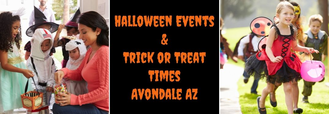 Mom Handing Out Candy to Kids in Costumes, Black Background with Orange Halloween Events & Trick or Treat Times Avondale AZ Text and Kids in Costumes Trick or Treating