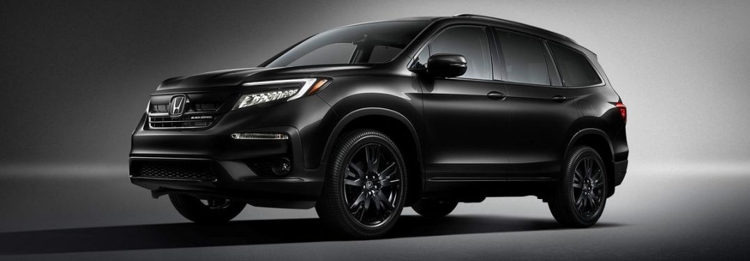 Black 2020 Honda Pilot Black Edition Exterior on a Dark Background