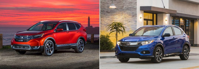Red 2019 Honda CR-V at Sunset and Blue 2019 Honda HR-V on a City Street
