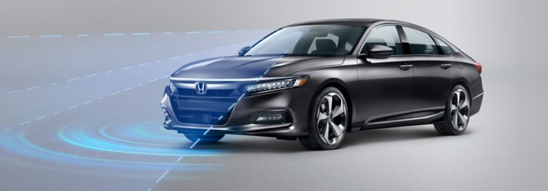 Black 2020 Honda Accord with Graphics of Honda Sensing Sensors, Radars and Cameras