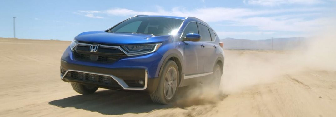Blue 2020 Honda CR-V Driving in the Desert