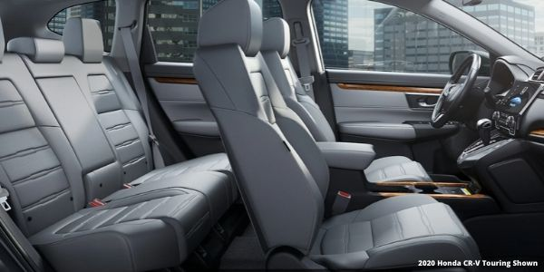 Cutaway View of 2020 Honda CR-V Interior with White 2020 Honda CR-V Touring Shown Text in Lower Right