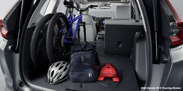 2020 Honda CR-V Cargo Space with Bike and White 2020 Honda CR-V Touring Shown Text in Lower Right