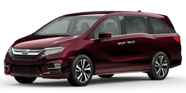 Deep Scarlet Pearl 2020 Honda Odyssey on White Background