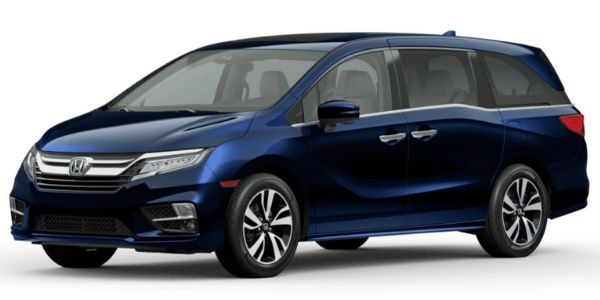 Obsidian Blue Pearl 2020 Honda Odyssey on White Background