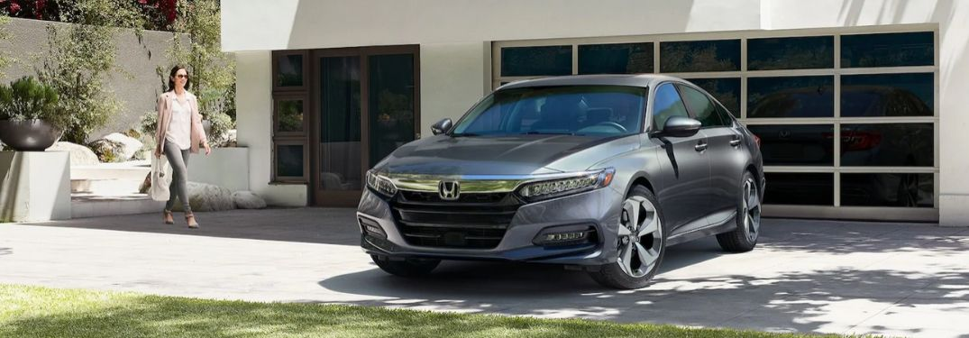 Gray 2020 Honda Accord in Driveway with Woman
