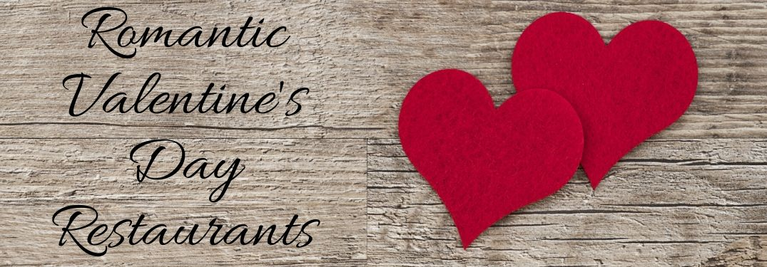 2 Red Hearts on a Wood Background with Black Romantic Valentine's Day Restaurants Script