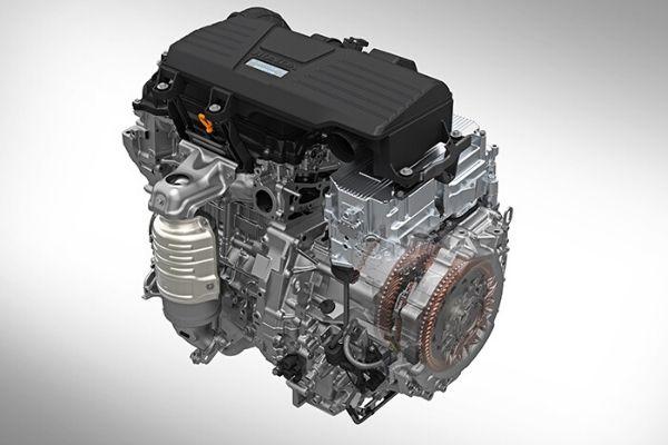 2020 Honda CR-V Hybrid Engine on a Gray Background