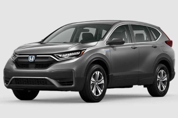 Modern Steel Metallic 2020 Honda CR-V Hybrid on White Background