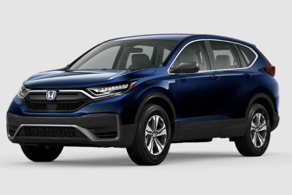 Obsidian Blue Pearl 2020 Honda CR-V Hybrid on White Background