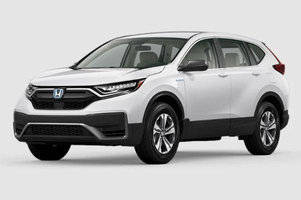 Platinum White Pearl 2020 Honda CR-V Hybrid on White Background