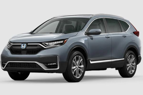 Sonic Gray Pearl 2020 Honda CR-V Hybrid on White Background