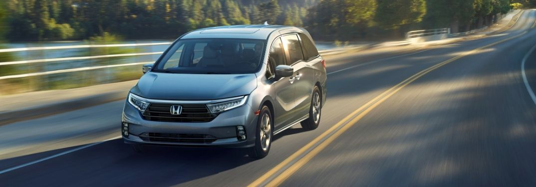 Gray 2021 Honda Odyssey on a Country Highway