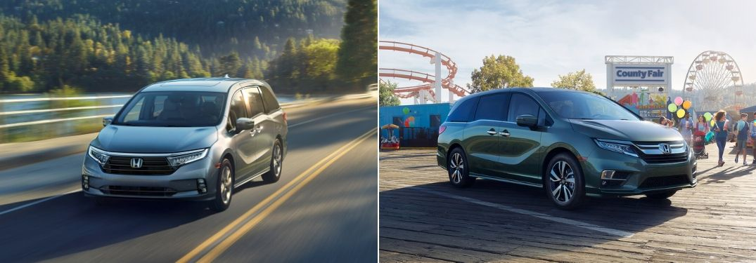 Gray 2021 Honda Odyssey on a Country Road vs Green 2020 Honda Odyssey at the Fair