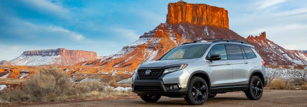 Silver 2020 Honda Passport in the Desert