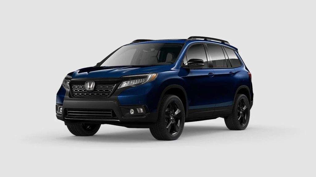 Obsidian Blue Pearl 2020 Honda Passport on Gray Background