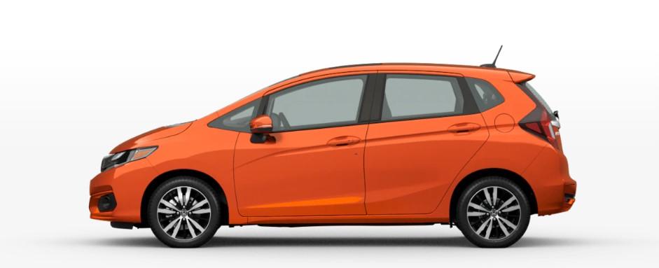 Orange Fury 2020 Honda Fit on White Background