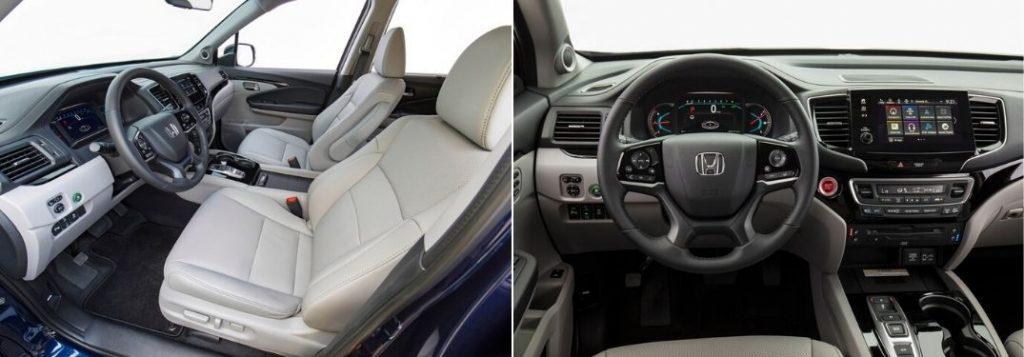 2021 Honda Pilot Front Seat Interior and 2020 Honda Pilot Steering Wheel and Center Console