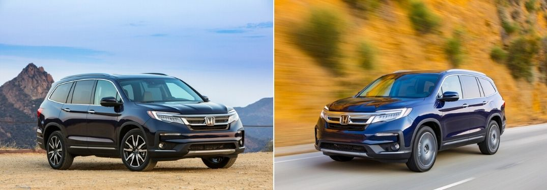 Blue 2021 Honda Pilot in a Desert vs Blue 2020 Honda Pilot on a Country Road
