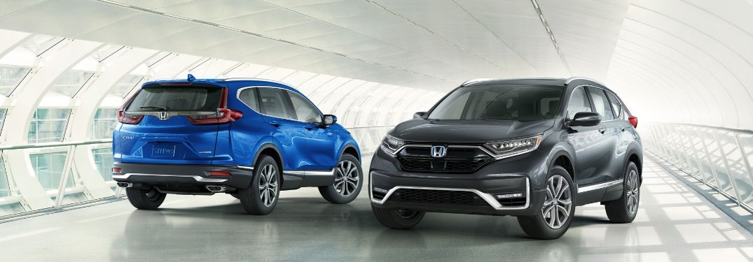 Blue and Gray 2020 Honda CR-V Models in a Tunnel