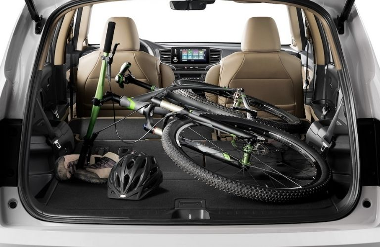 2021 Honda Pilot Rear Cargo Space with a Bike