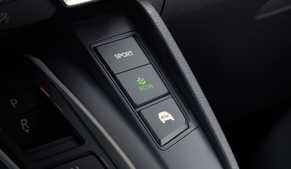 Sport, Econ and EV Mode Buttons in a 2020 Honda CR-V Hybrid