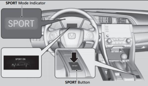 Diagram of Sport Mode in a 2020 Honda Civic Owner's Manual