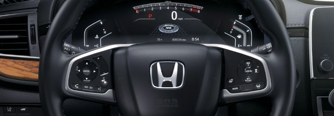 Close Up of 2020 Honda CR-V Steering Wheel and Driver Information Interface