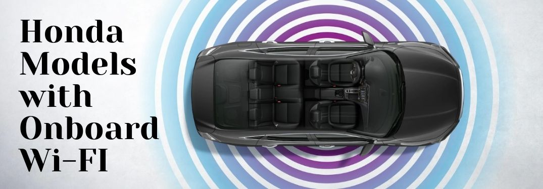 Overhead View of 2021 Honda Insight Interior with Wi-Fi Waves and Black Honda Models with Onboard Wi-Fi Text