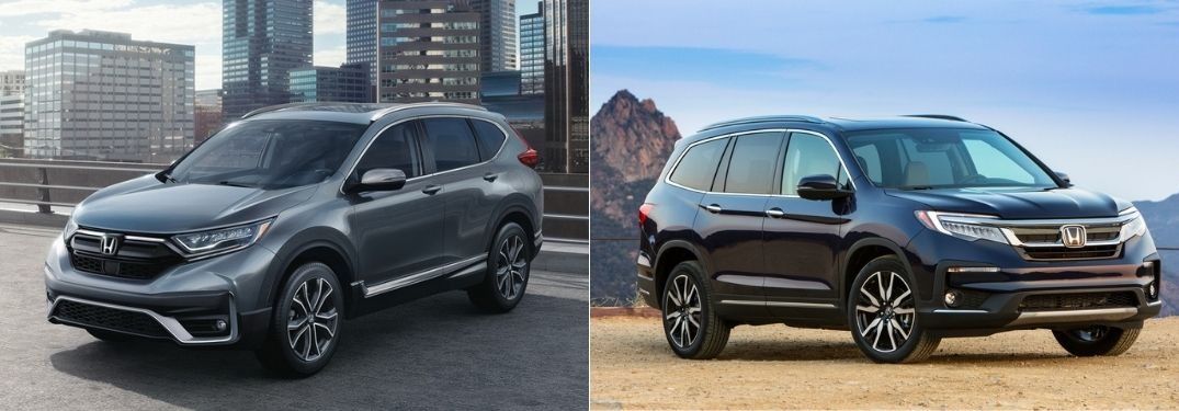 Gray 2021 Honda CR-V in a Parking Lot vs Black 2021 Honda Pilot in a Desert