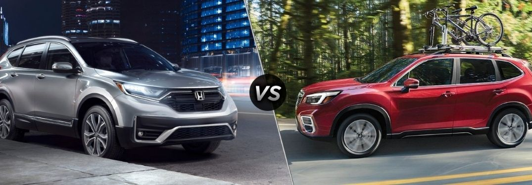 Silver 2021 Honda CR-V on a City Street vs Red 2021 Subaru Forester on a Country Road