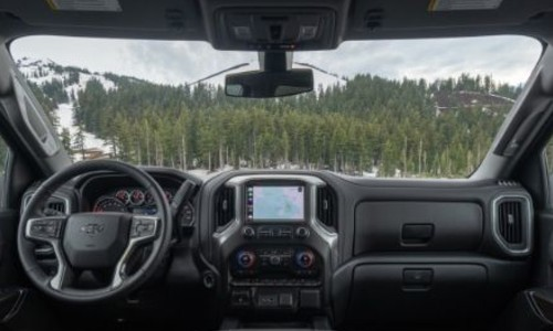 2020 Chevrolet Silverado 1500 interior shot directly overhead centered on screen dash and windshield