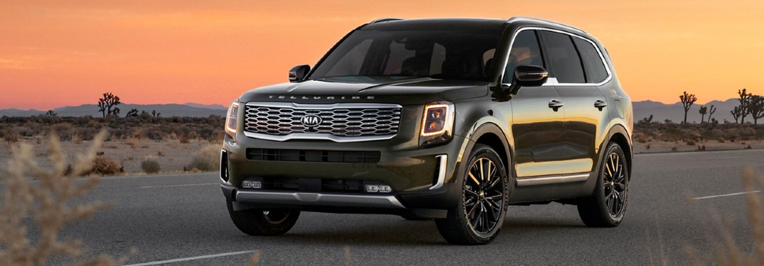 2020 Kia Telluride under an orange sky
