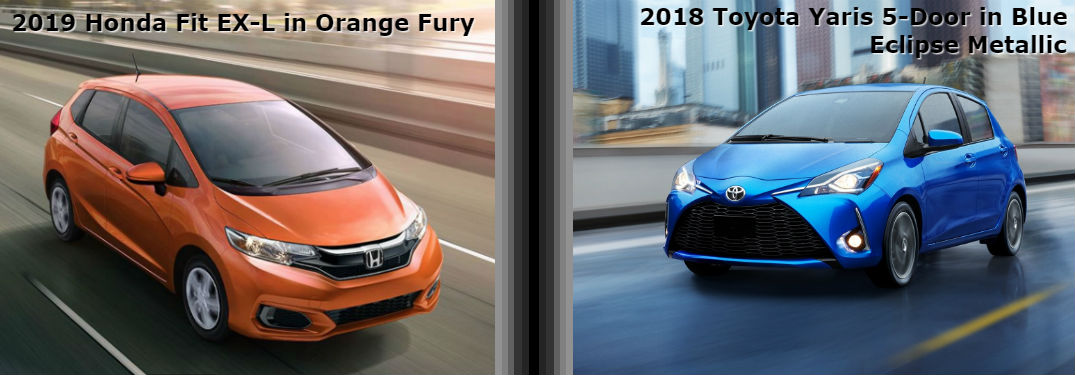 2019 Honda Fit and 2018 Toyota Yaris Similarities with an image of a 2019 Honda Fit EX-L in Orange Fury and a 2018 Toyota Yaris 5-Door SE in Blue Eclipse Metallic