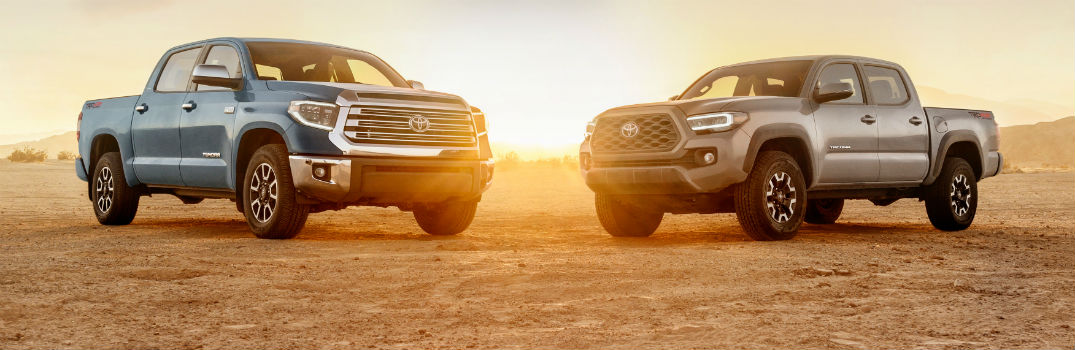 2020 Toyota Tacoma Tundra Exterior Front Angles in Desert