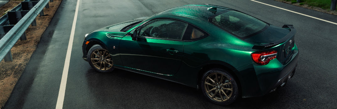 2020 Toyota 86 Hakone Edition in Hakone Green Exterior Driver Side Rear Profile