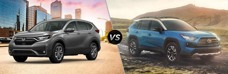 2020 Honda CR-V Exterior Driver Side Front Profile vs 2020 Toyota RAV4 Exterior Passenger Side Front Profile
