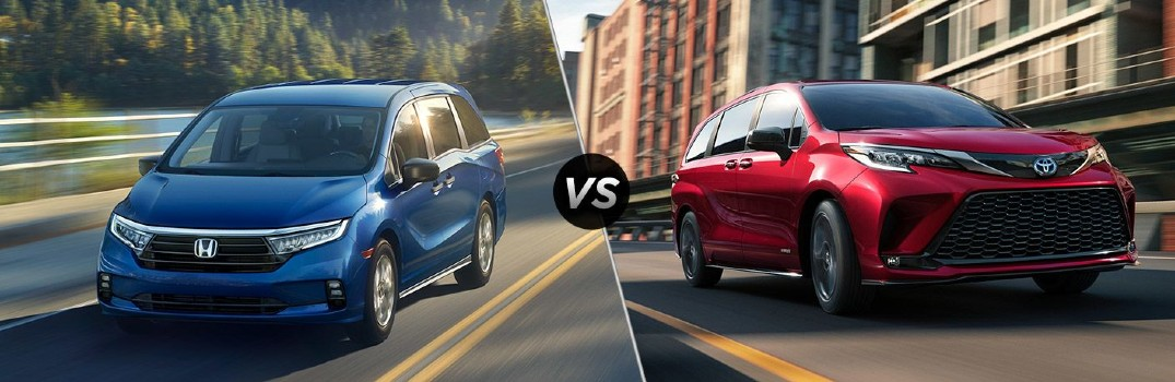 2021 Honda Odyssey LX Exterior Driver Side Front Angle vs 2021 Toyota Sienna Exterior Passenger Side Front Angle