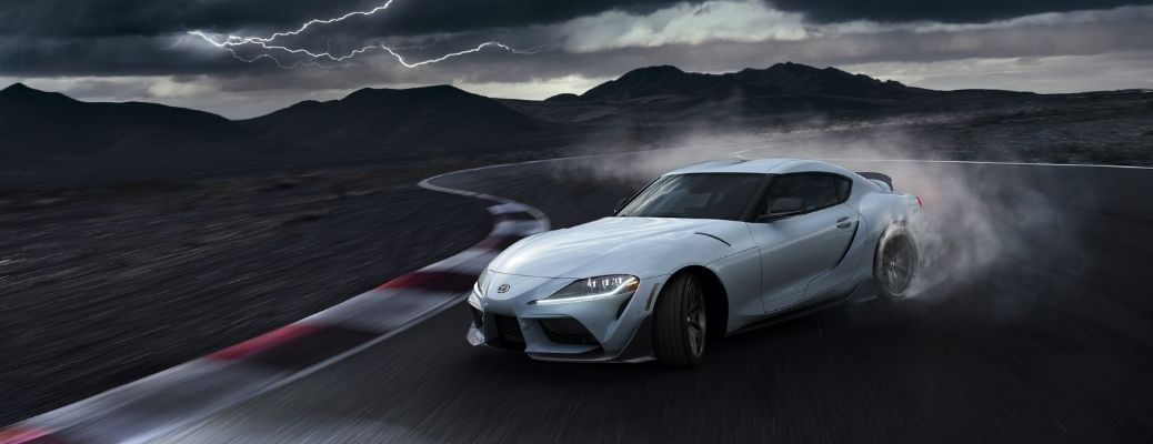 2022 Toyota GR Supra A91-CF Edition Front Left-Quarter View Drifting on the race track
