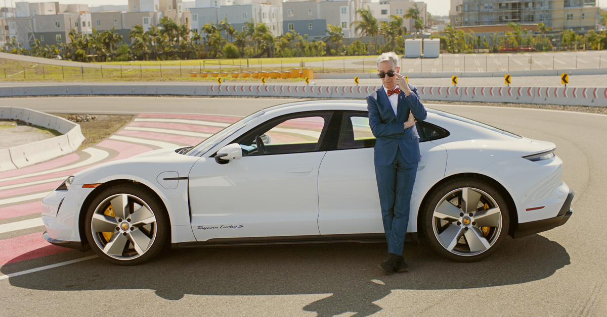 Bill Nye The Science Guy explains the tech behind the Porsche Taycan in a new video series